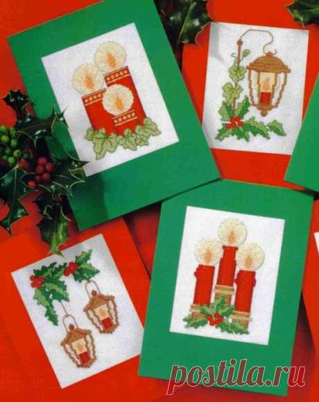Рождественская вышивка на открытках.