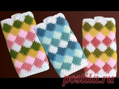 Fundas fáciles a Crochet para celulares en punto Entrelac de colores tejido tallermanualperu - YouTube