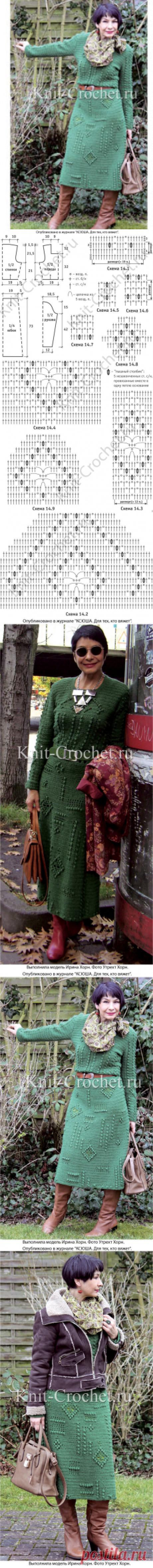 Платье крючком с ромбами из «шишечек». - Платья, связанные крючком - Вязание крючком - Каталог статей - Вязание спицами и крючком
