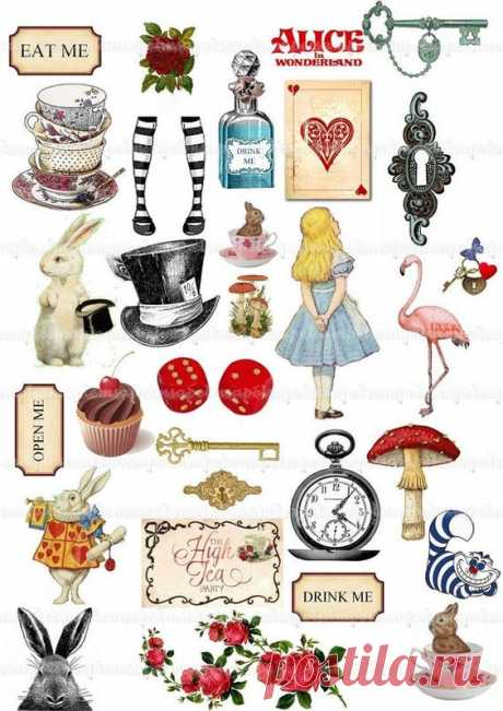 Alice in Wonderland Clipart Alice Clip Art Watercolor Mad Hatter Tea Party Eat Me Drink Me White Rab
