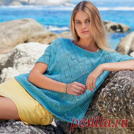 Летний пуловер с ажурным узором из ромбов — Shpulya.com - схемы с описанием для вязания спицами и крючком