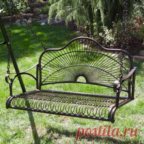 Металлические качели в вашем саду - 52 фото примера Садовые качели из металла отличаются высокой прочностью и долговечностью. Они ненавязчиво намекают гостям. что хозяин ценит хороший отдых.