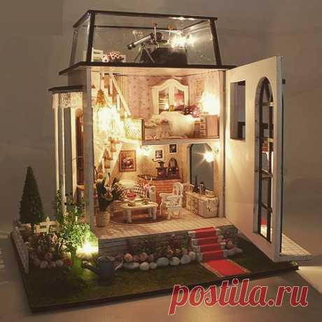 Кукольный домик Дом миниатюра, в котором все нужно сделать-сшить-склеить-собрать самому, от занавески до каркаса Больше домиков на sova-rukodelnica.com.ua