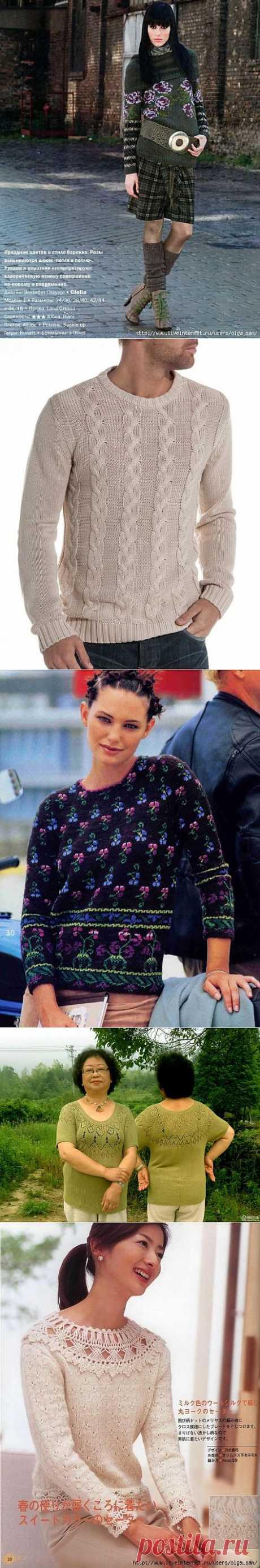 Пуловеры спицами. Подборка 151.