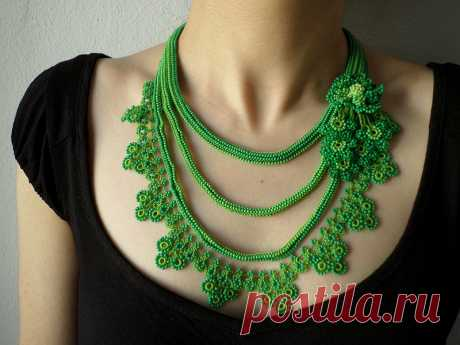 Beaded crochet statement necklace with lime green and shamrock green seed beads and crocheted flowers by irregular expressions   Flickr - Photo Sharing!