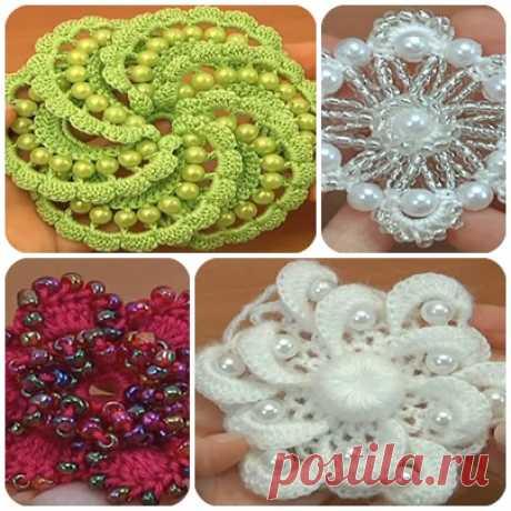 Красивые цветы крючком с бусинами и бисером