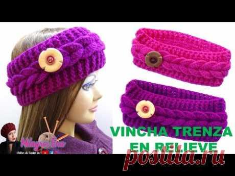 Vincha o diadema Trenza en Relieve con boton tejido a crochet paso a paso