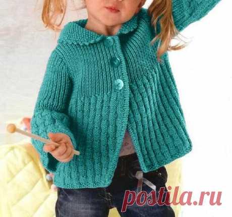 Милый жакетик для девочки простым узором | Идеи рукоделия | Яндекс Дзен