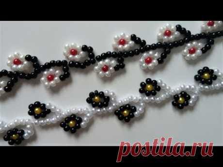 Floral bracelet tutorial. Easy beading pattern for beginners