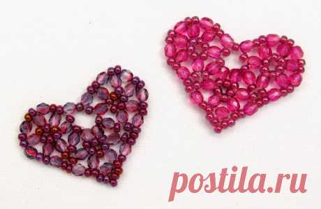 Free Bead Patterns and Ideas: Pretty Beaded Heart - Free Pattern