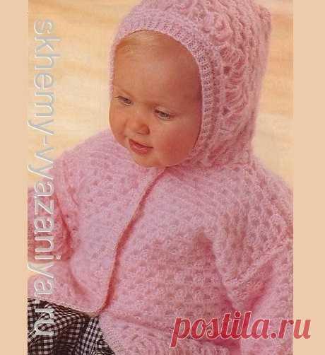 Схема вязания спицами: розовое пальто на подкладке для малыша