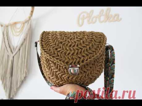Torebka na szydełku - ścieg jodełka. Crochet herringbone bag step by step tutorial.