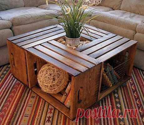 Журнальный столик из ящиков / Мебель / Модный сайт о стильной переделке одежды и интерьера