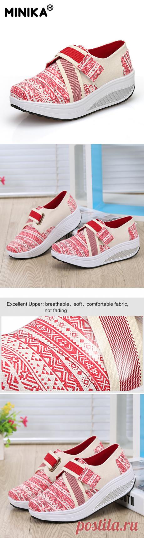 Minika полосатый обувь для похудения Женская Толстая подошва дышащая обувь на платформе обувь на качающей танкетке легкая прогулочная обувь Tenis Feminino купить на AliExpress