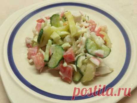 Овощной салат с крабовыми палочками - рецепт с фото пошагово