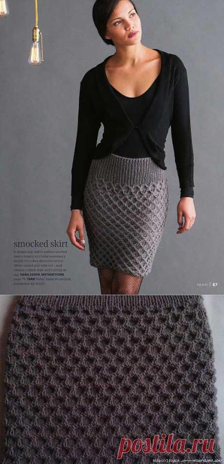 Бесшовная юбка спицами от HANA JASON.