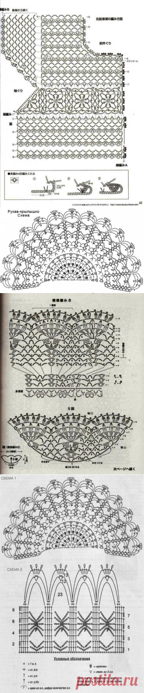 Рукав-крылышко крючком схема