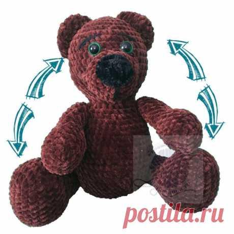 Мягкий мишка игрушка, темно коричневый, сидячий, 20 смПлюшевый мир Мастерская игрушек Анны Ганоцкой