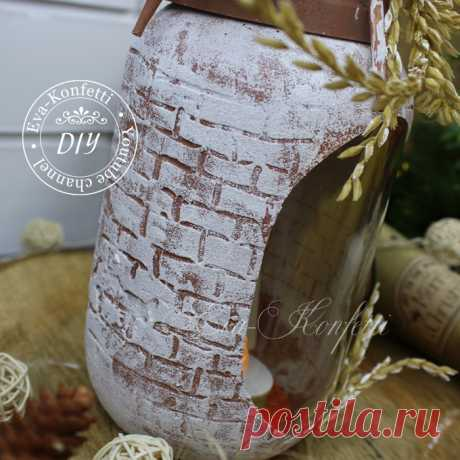 Декор стеклянных банок, бутылок и ваз: зимне-новогодние идеи