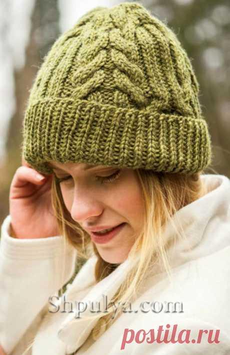 """Вязаная шапка с косами """"Антрим"""" — Shpulya.com - схемы с описанием для вязания спицами и крючком"""
