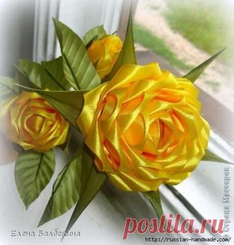 КРАСАВИЦА ЖЕЛТАЯ РОЗА (Цветы из ткани)