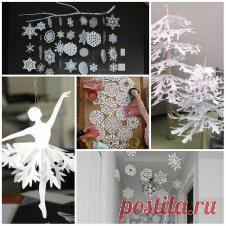 Украшения из снежинок - 5 замечательных идей с новогодним настроением