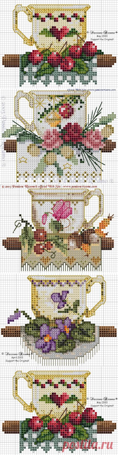 Украшаем кухню - схемы для вышивки крестом на чайную тему