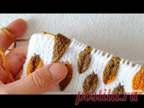 Yepyeni hazan yaprağı Örgü crochet modeli tunisan Tunus işi örgü modeli
