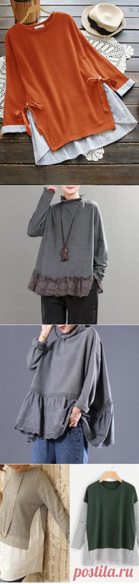 Переделки блузка+кофта / Блузки / ВТОРАЯ УЛИЦА - Выкройки, мода и современное рукоделие и DIY Для себя любимой