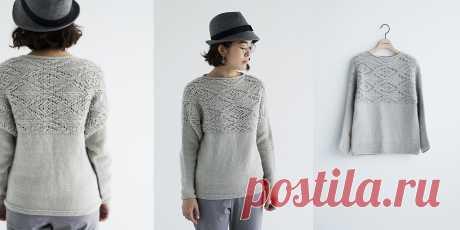 Пуловер с ажурной кокеткой Gullfoss - Вяжи.ру