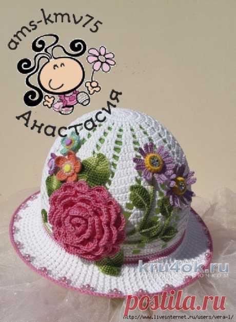 Летняя шляпка крючком. Работа Анастасии ams-kmv75