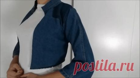 Стильная переделка старых джинсов При желании иметь в гардеробе джинсовую куртку вовсе не обязательно отправляться за покупкой в магазин. Взгляните на эту стильную обновку. В это трудно поверить, но перекроена она из обычных джинсов, ...