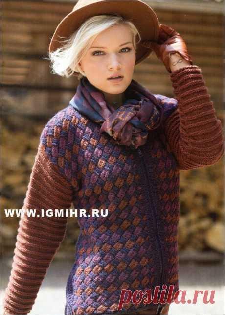 Шерстяной жакет с трехцветным плетеным узором. Спицы.