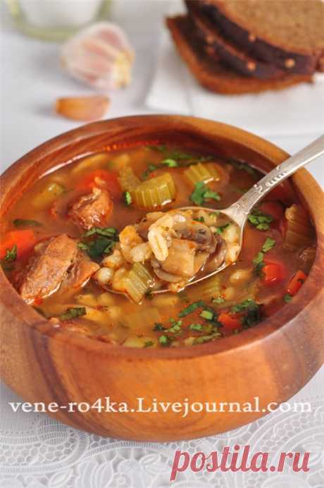 """Meat """"Барли&quot pearl barley soup; champignons and vegetables. - Tasty pause"""