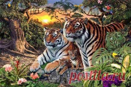 Попробуйте найти всех скрытых тигров на этой хитрой картинке