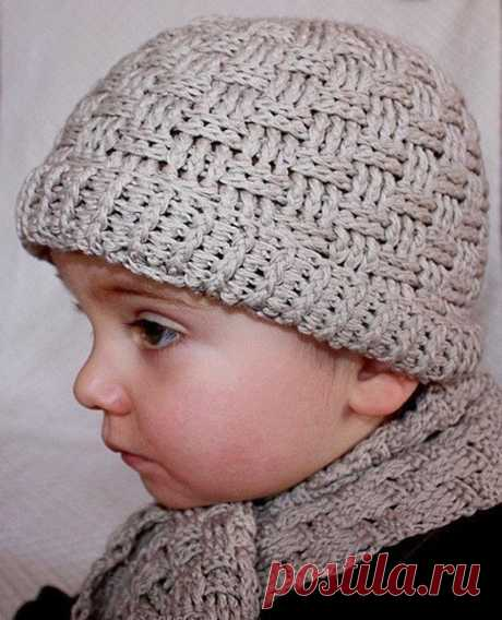 Crochet PATTERN Basketweave Boy Hat and scarf English only | Etsy