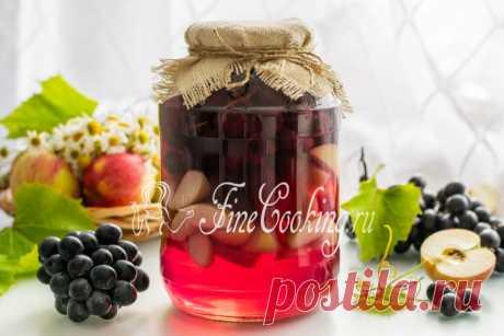 Компот из винограда и яблок на зиму Яркая, вкусная и ароматная заготовка на зиму - сохраним виноград и яблоки в виде компота.