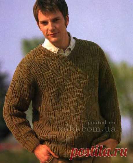 мужской пуловер с V-образным вырезом спицами
