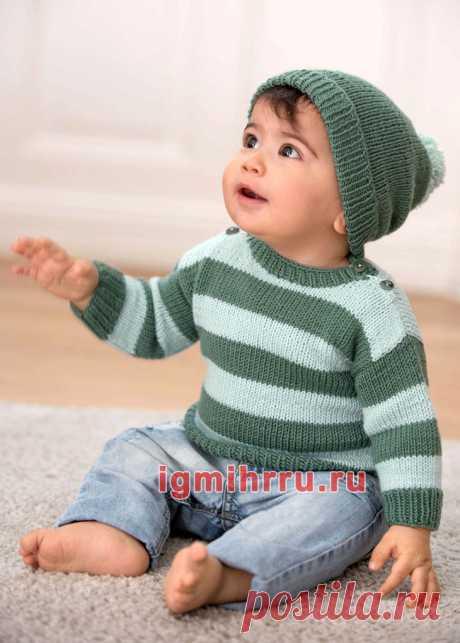 Для малыша 1-18 месяцев. Шерстяной комплект из пуловера в полоску и шапочки. Вязание спицами для детей