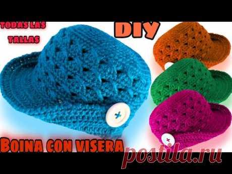 Boina con visera a crochet *PASO A PASO* Todas las TALLAS 👈👈🎩🎩😘😘