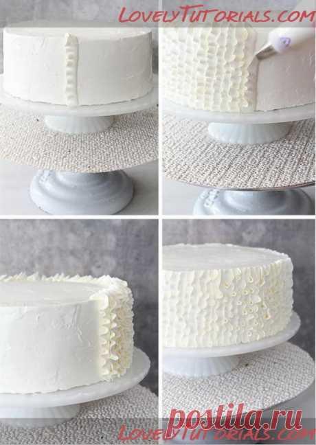 Как украсить бока тортика рюшами-оборками торт уроке - Мастер-классы по украшению тортов торт украшая учебные пособия (как же) Tortas Пасо а Пасо | AdorePics
