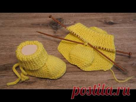 Легкие пинетки на двух спицах 🌝 Baby booties knitting pattern