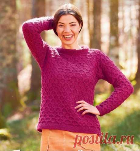 """Пуловер с модным в этом году узором """"соты"""""""