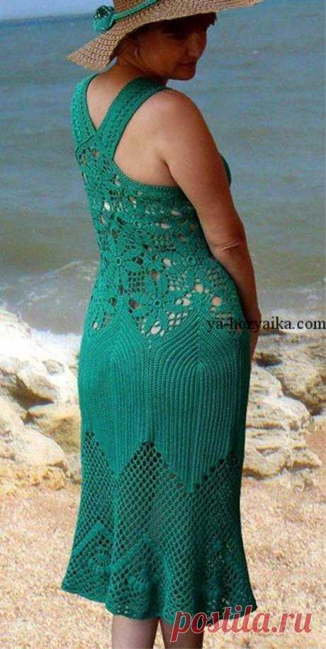 Шикарный сарафан для лета крючком. Вязание летнего платья крючком