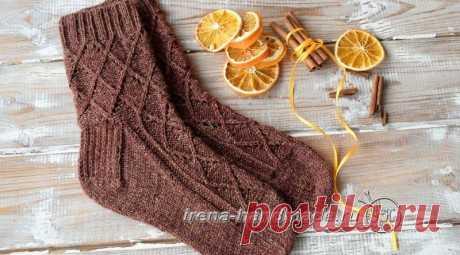 Ажурные носки спицами Корица, бесплатное описание, Вязание для женщин