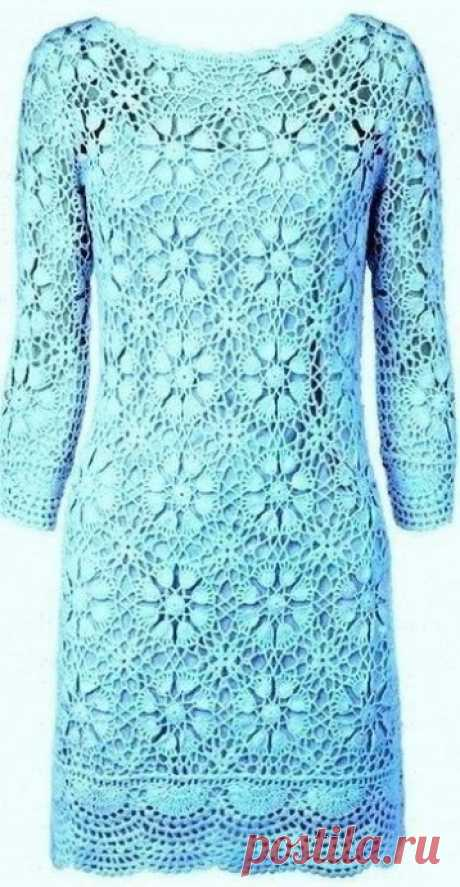 Платье из мотивов, связанных крючком