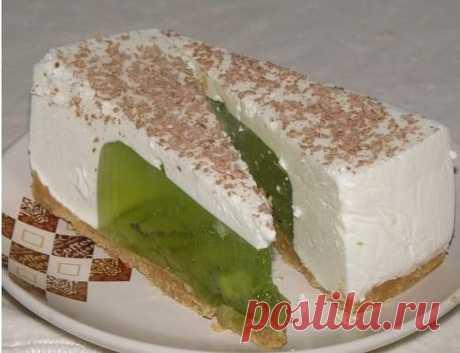Желейный тортик из киви и сметаны без выпечки | Самые вкусные кулинарные рецепты