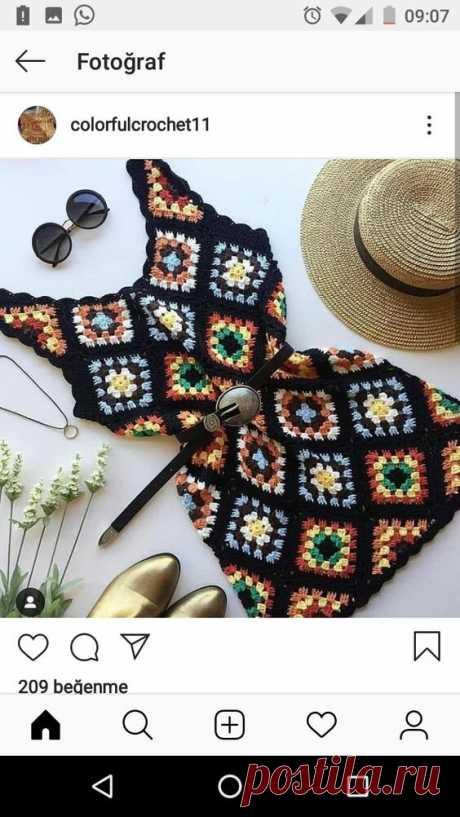 Летняя подборка стильного вязания из бабушкиного квадрата + схемы. Часть 2   TurtleKnitt   Яндекс Дзен