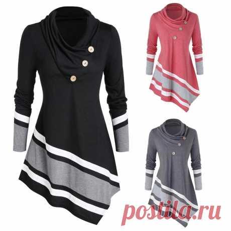 Модная Женская водолазка размера плюс L 5XL, Повседневная зимняя Женская туника в полоску, топы, женская рубашка с длинным рукавом, Blusas пуловер | Блузки и рубашки