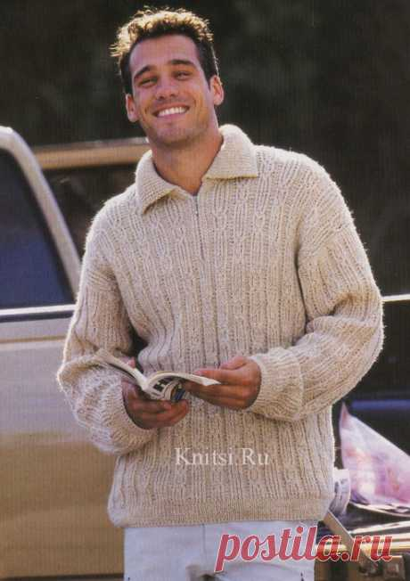 Для мужчин. Меланжевый пуловер на молнии